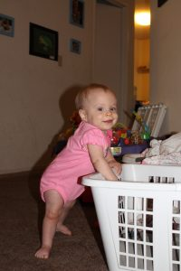 Baby girl standing up!