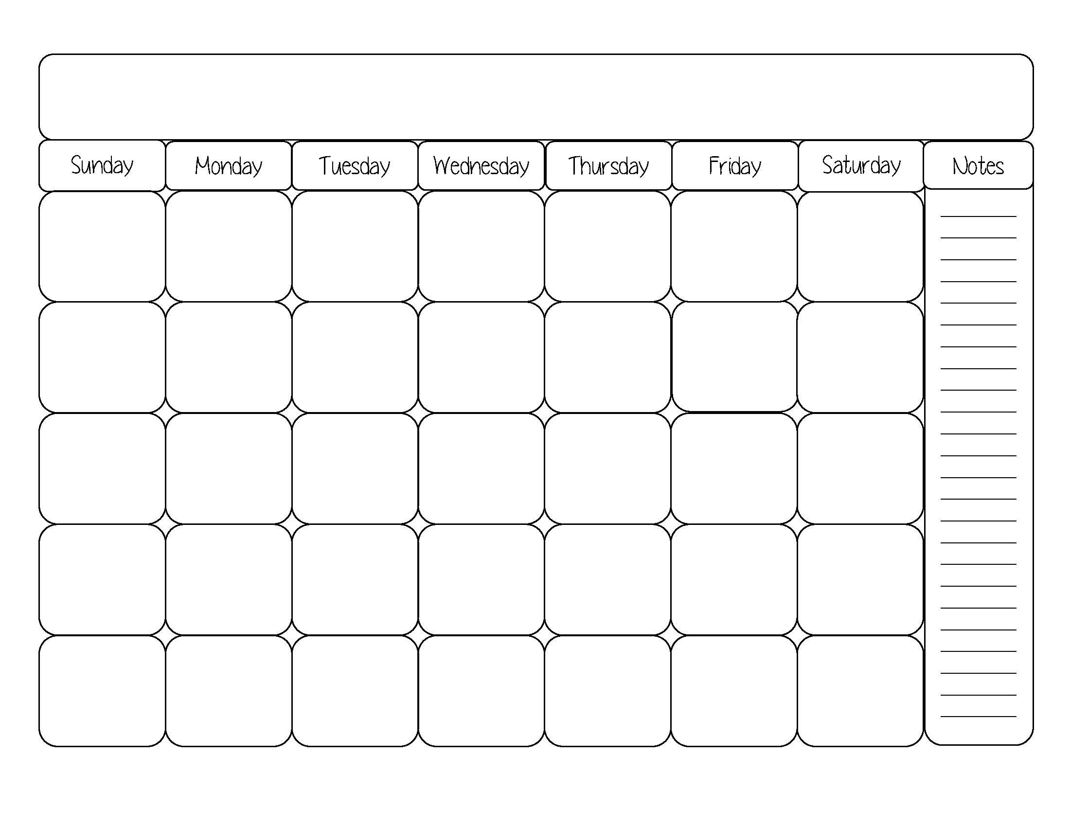 Printable Calendar Template Black And White Simply Sweet Days