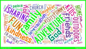 family fun adventure God friends kindness sharing joy outdoors kids home food yummy visits vacation connections church laughter love peace enjoyment pretty