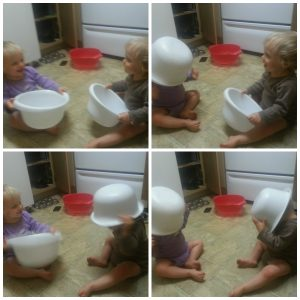 Wordless Wednesday: Twins Playing a Game, No Toys Required