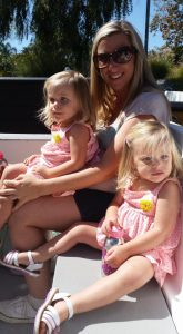 mommy and blond twin girls