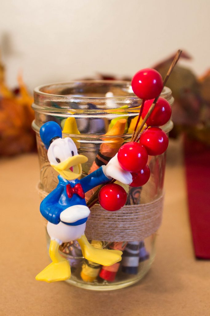 Disney themed Thanksgiving kids table decor and activity