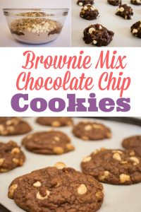 A super easy recipe for brownie cookies from a box! These chewy chocolate chip cookies taste homemade. Nobody would guess they came from mix! I think the Ghiradhelli fudge brownie mix works the best, but you can use any boxed brownie mix.