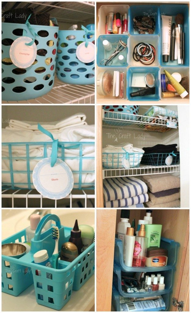using dollar store baskets and caddies to create cute, colorful bathroom decor and bathroom organization