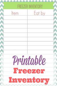 Printable Freezer Inventory {Freebie}