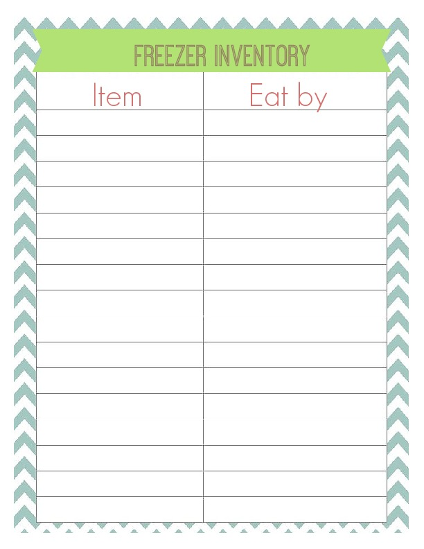 printable freezer inventory sheet, great for organizing your freezer storage!. Works like a spreadsheet. Easy print-and-use template.