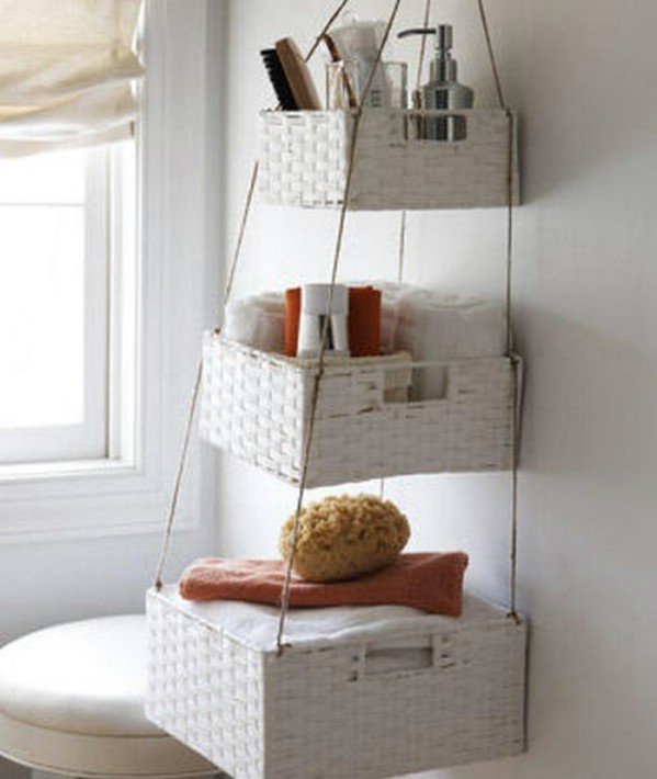 small space bathroom organization solutions use hanging baskets to store toiletries and other necessities. easy DIY instructions