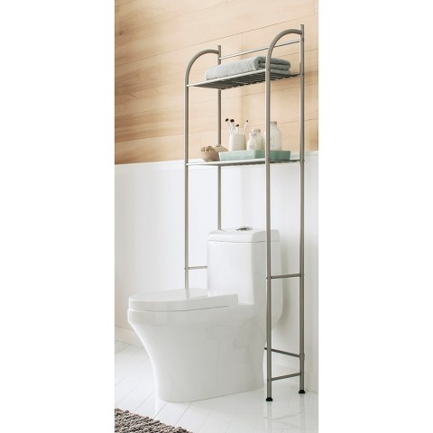space saving small bathroom organization solutions by adding an over-the-toilet shelf