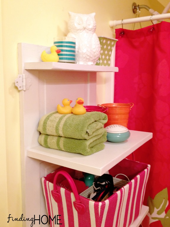 small bathroom storage solutions and easy DIY shelf tutorial