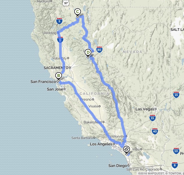 this is the route we took from San Diego to northern California and back on our big huge vacation in the car