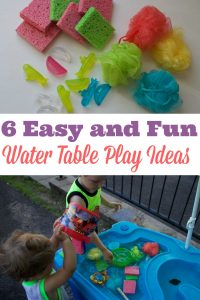 6 cheap and easy ideas for DIY water table activities. My kids are a toddler and a preschooler and they love these creative outdoor homemade outdoor play activities. They are a lot of fun for kids and can be made from repurposed objects. The water table toys can easily be adapted for sand and other sensory play.