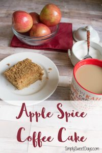 A super easy apple coffee cake recipe that's perfect for fall! This simple recipe gets baked in no time, and is a favorite for kids and adults!