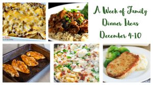 A week of family dinner ideas for the first week december