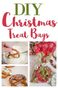 DIY Christmas gift: Chocolate dipped pretzels treat bags
