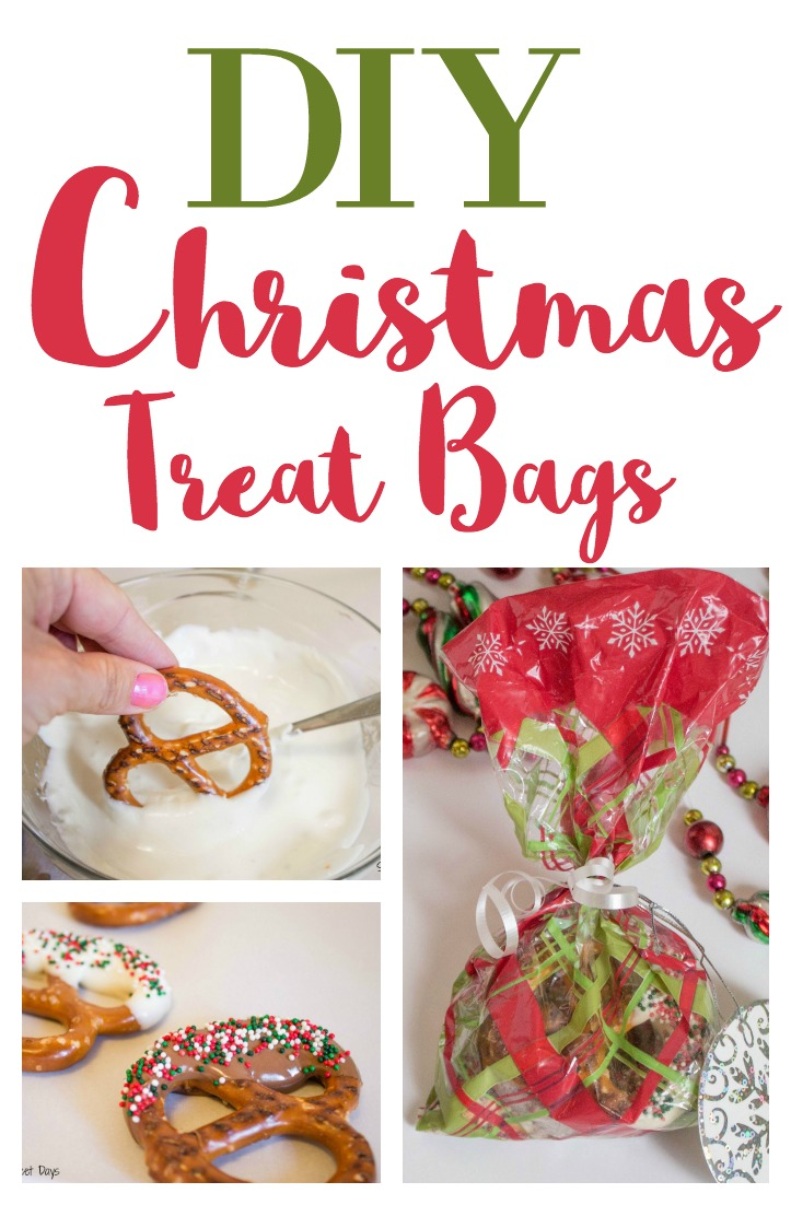 Diy Christmas Gift Chocolate Dipped Pretzels Treat Bags