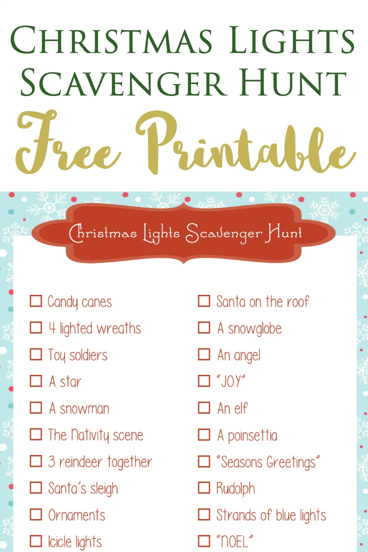 free printable for a Christmas Lights scavenger hunt