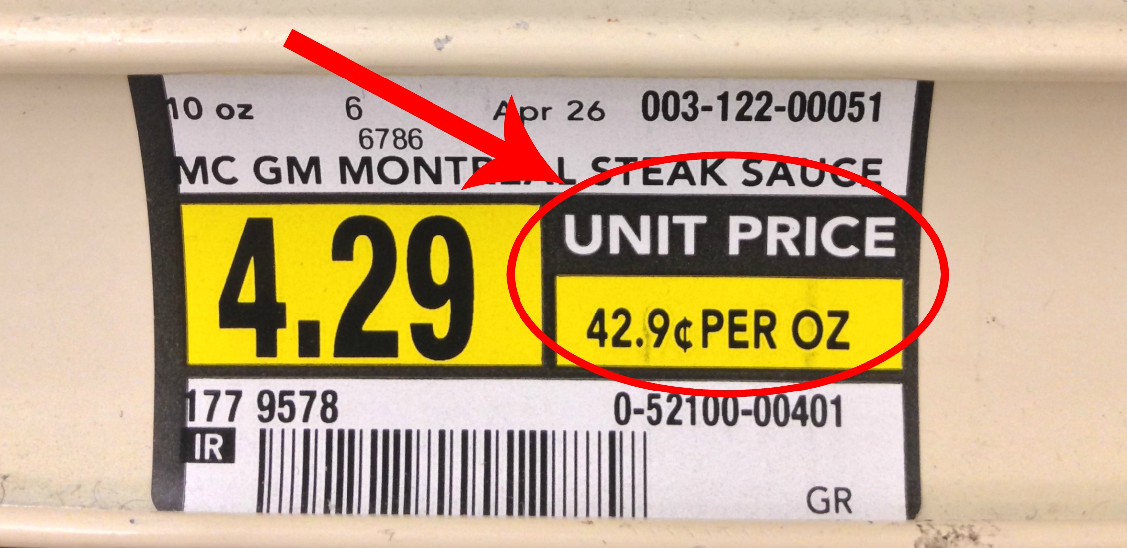 unit pricing example