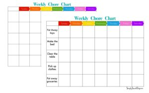 weekly chore charts for kids