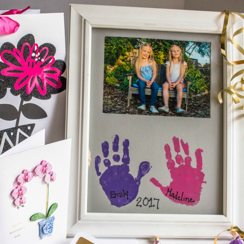 Diy mother s day gift handprint picture frame simply for What to get mom for mother s day diy