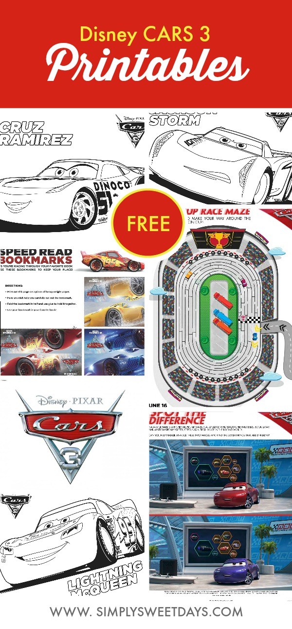 Set of free Disney Cars 3 printable coloring pages for kids! This post also includes some cute bookmarks for your kids to cut out and design.