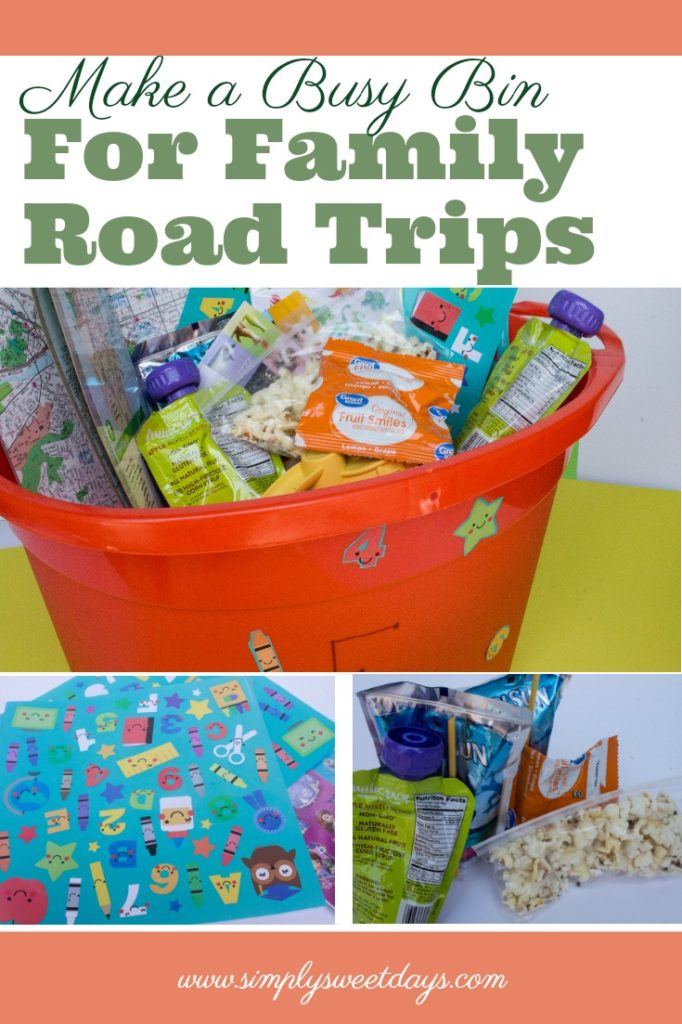 Fun kids activity for long road trip with little ones. Make a busy bin to keep your toddler or preschooler entertained on the drive! A cheap and super simple alternative to dvds or tablets in the car..jpg