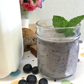 blueberry breakfast smoothie made with milk