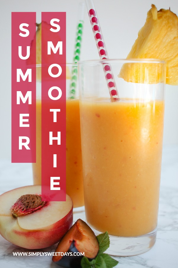This refreshing summer smoothie hits the spot on hot summer afternoons. You can also make it from frozen fruit and enjoy this drink year-round!