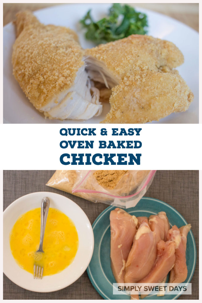 Our family's favorite recipe for oven baked chicken uses simple breading made from crushed cracker crumbs! It is a fast and easy dinner, perfect for busy weeknights.