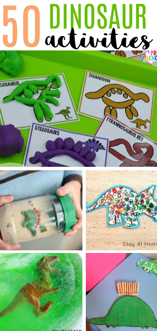 50 Dinosaur Crafts and Activities for a preschool dinosaur enthusiast or a dinosaur themed party