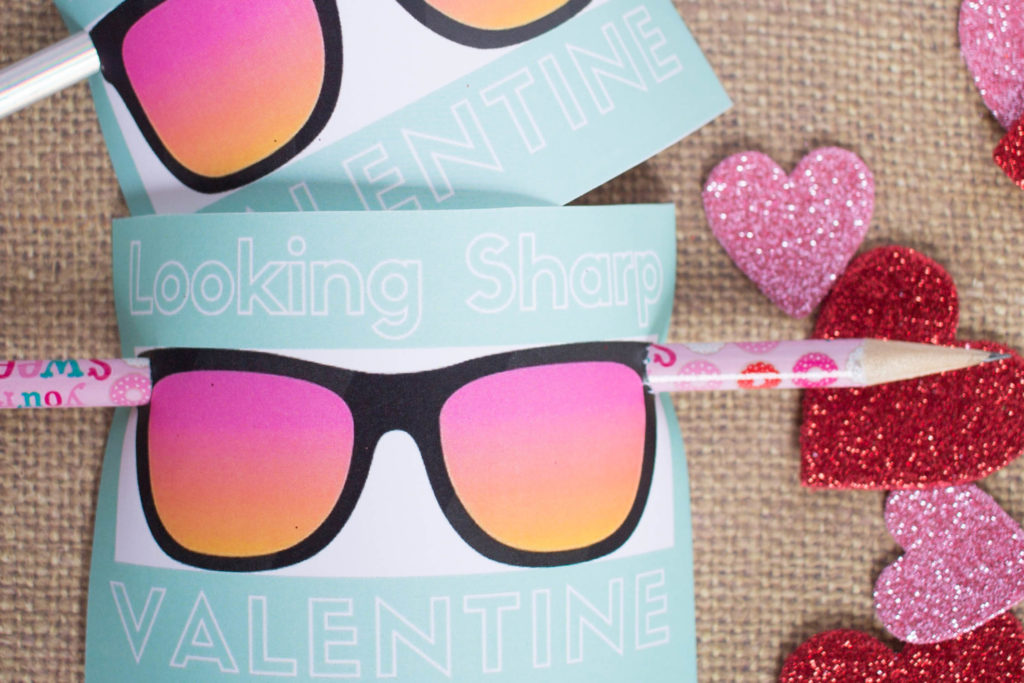 printable Valentines with a pencil and no candy!