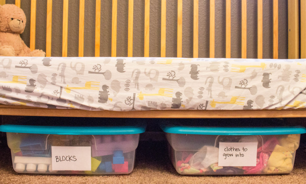 plastic bins under the bed for small space storage