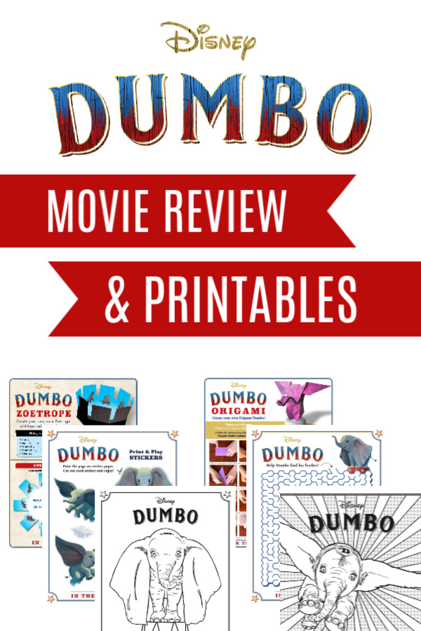 Set of free printables and activities to go along with our Dumbo Movie Review