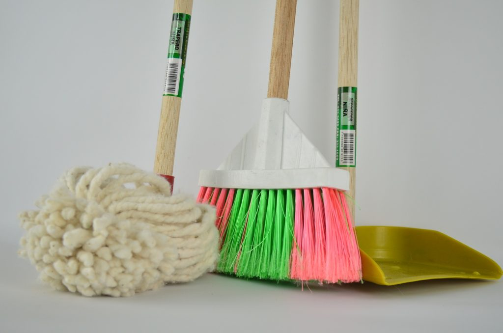 broom, mop, and dustpan