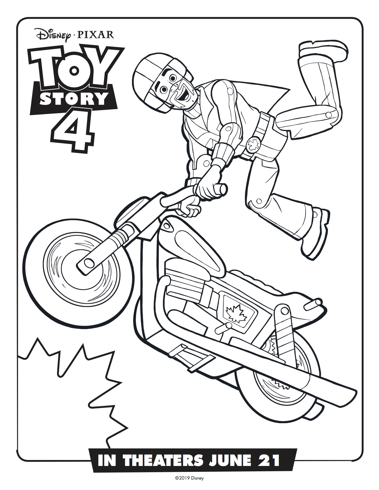 Toy story 4 duke caboom printable coloring page simply sweet days