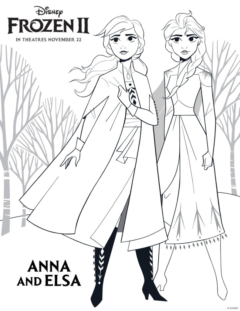 Frozen 2 Free Printable Coloring Page Elsa and Bruni - Get ... | 1024x791