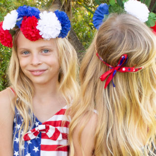 4th of july red white and blue flower headband