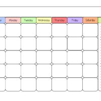 printable calendar template color